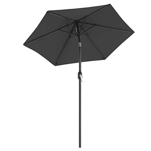 SONGMICS Sonnenschirm 200 cm, Marktschirm, Gartenschirm, UV-Schutz bis UPF 50+, Schirmmast und Schirmrippen aus Metall, knickbar, ohne Ständer, für Terrasse und Balkon, grauGPU202G01