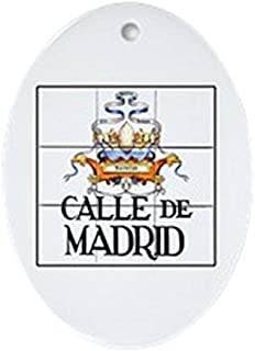 Cheyan Calle De Madrid, Madrid - Spain Oval Ceramic Christmas Ornaments for Christmas Tree Decoration Novelty Gifts for Kids Girls Women
