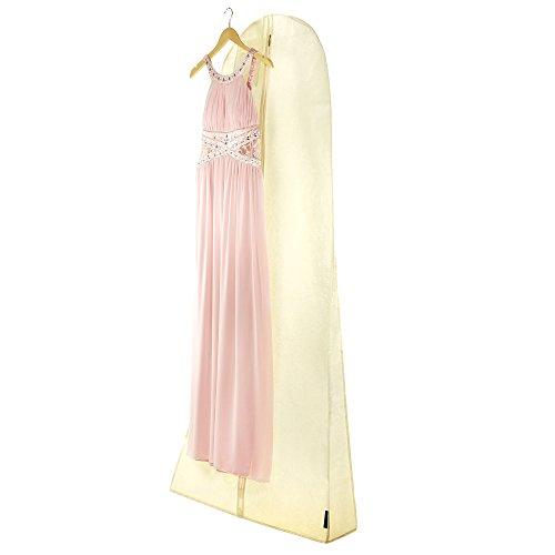 HANGERWORLD 3 Kleidersäcke in Creme Beige 183x66x20 cm für Hochzeitskleider Brautkleider Abendkleider Atmungsaktive Kleiderhülle mit Blumen-Prägung