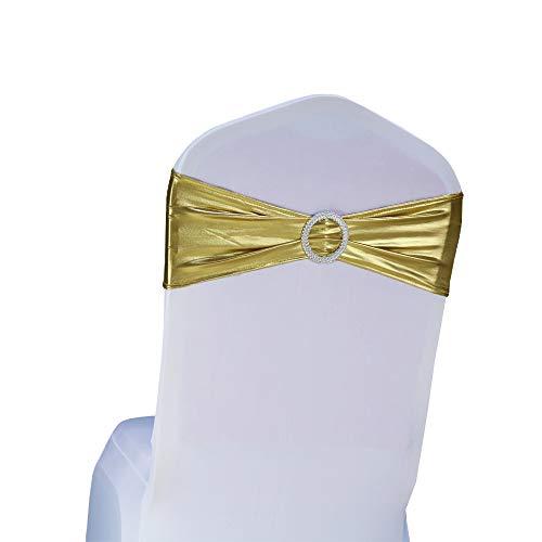 SINSSOWL 100 pcs élastique Spandex Housses de Chaise Bandes nœuds pour décorations de fête de Mariage de fournisseurs Chaise nœuds -- Métal doré
