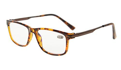 Eyekepper No Line Bifocal Progressive Multifocale glazen 3 niveaus Vision leesbril Amber getinte blauwe lichtblokkering +1.75 Schildpad nieuw