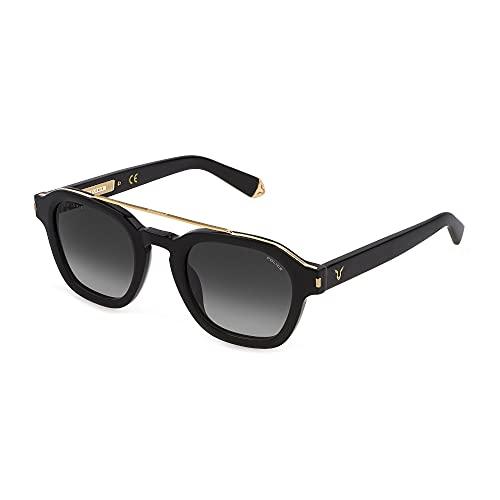 Police Lewis 19 SPLC47 0BLK 50-24-145 - Gafas de sol unisex, color negro, lentes ahumadas degradadas