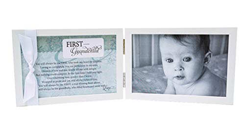 "The Grandparent Gift Co. First Grandchild Photo Frame, White, Fits 4"" x 6"" Picture"