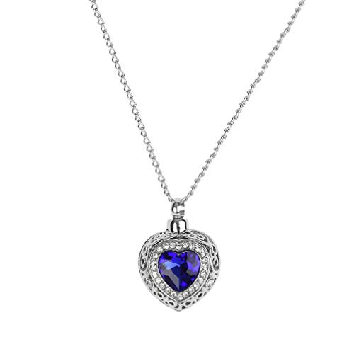 Happyyami Heart Pendant Necklace Creative Rhinestone Inlay Pendant Necklace for Lady Mothers Day Wedding Anniversary Dinner Party Jewelry Gift(Blue)