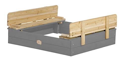 AXI Sandkasten Ella aus Holz mit Deckel | Sand Kasten in Grau mit Sitzbank & Abdeckung für Kinder | 100 x 95 cm