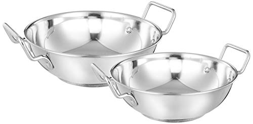 Amazon Brand - Solimo Stainless Steel Induction Bottom Kadhai Set (2 pieces, 2000ml and 3750 ml, Size 12 and 14)