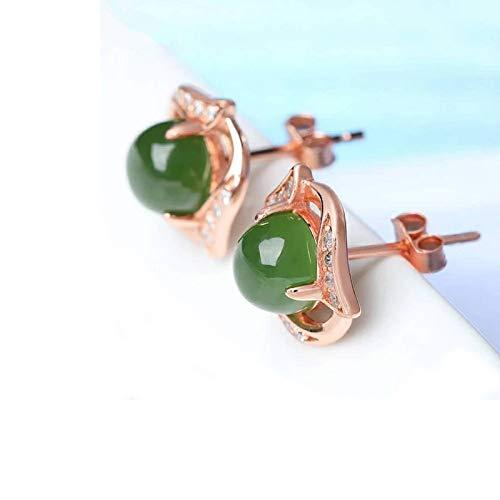 XEHL Joyería de Plata 925 de Moda con Pendientes de Esmeralda Creados en Verde para Mujer Top para