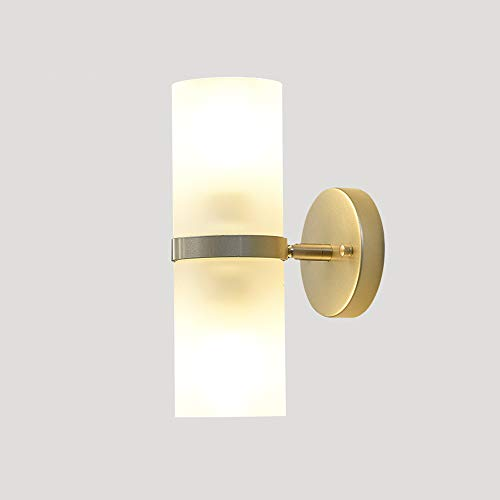 LIGUANGWEN Nordic Post-moderne Doppelkopf-Glaswandleuchte, Kinderzimmer E27 Energiesparende Wandleuchte, Wohnzimmer TV Hintergrundwand Balkon Wandleuchte Ganglampe Schlafzimmer Nachttischlampe for Woh