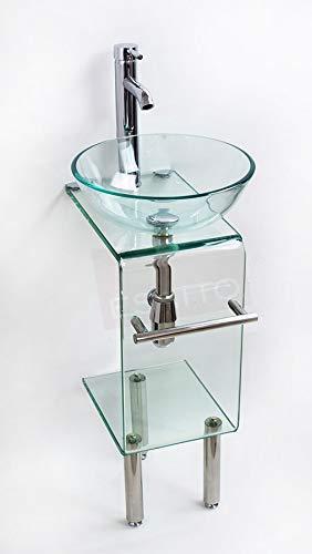 Esatto® Mueble pequeño para baño Vidrio Cristal Lavabo Compacto MV-014
