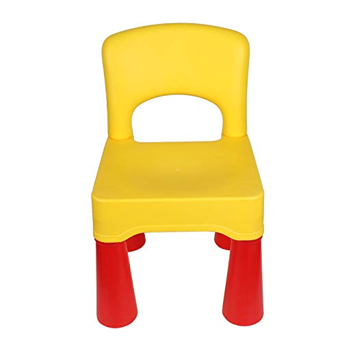 "Plastic Toddler Chair, Durable and Lightweight, 9.65"" Height Seat, Indoor or Outdoor Use for Boys Girls for 18+ Months (Yellow)"