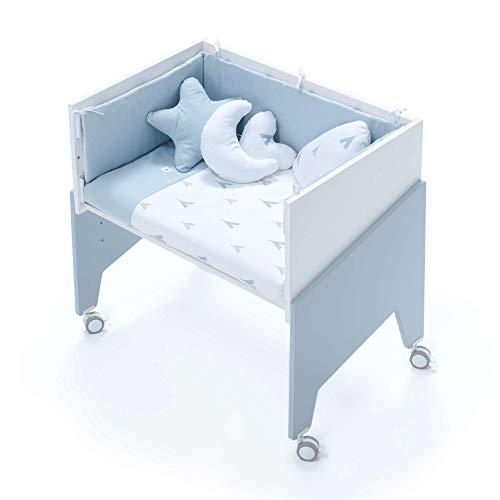 Alondra - Minicuna Colecho EQUO (5 etapas) CELESTE + Set 3Textiles + Colchón antiahogo, convertible en: sillón + mesa + juguetero + colecho + minicuna) 7 alturas somier, modelo C1051-TX111 Indiana Blu
