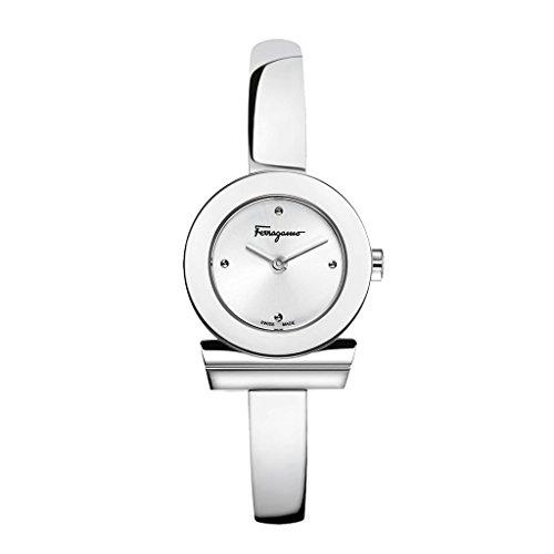 Salvatore Ferragamo Gancino Bracelet Damen Quarzuhr mit silbernem Zifferblatt und Edelstahl Armreif FQ5010013