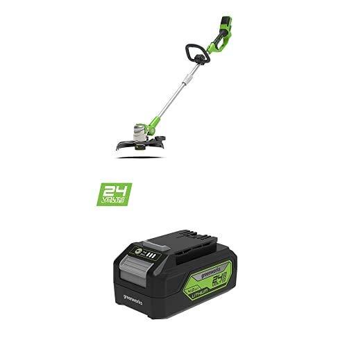 Greenworks Tondeuse à batterie G24LT30M Deluxe (Li-Ion 24V 40cm largeur coupe 8500 tr/min tête moteur rotative poignée) + G24B4 2ème génération (Li-Ion 24 V 4,0 Ah adaptée)