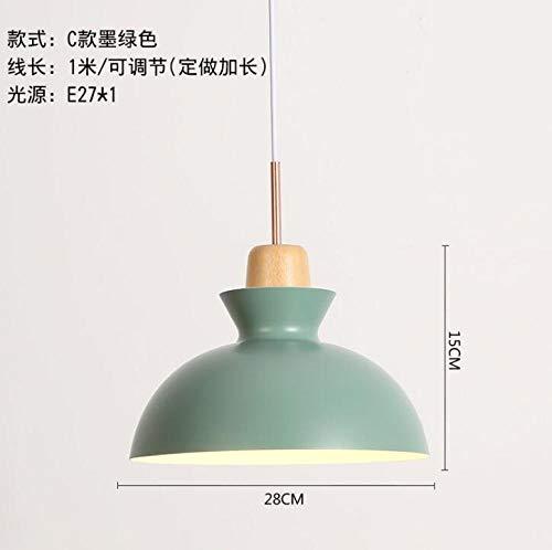 Hanglamp voor woonkamer slaapkamer van massief hout deksel vaas aluminium lamp donkergroen