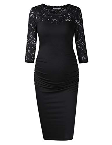 KOJOOIN Damen umstandskleid Schwangerschaftskleid,Lange ärmel elegentes Kleid Knielang Schwarz Spitze XL(Verpackung MEHRWEG)