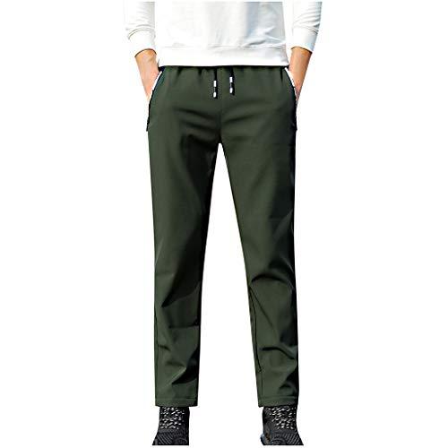 HEETEY Männer Herbst Winter Einfarbig Thermohose Kordelzug Lange Hosen komfortable Trainingshose für Männer, Sporthose mit enganliegender Passform Tapered Jogger