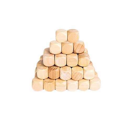 SUPVOX Set di Dadi in Legno con 6 Lati Dadi Vuoti per Artigianato Fai da Te 16mm 50 Pezzi