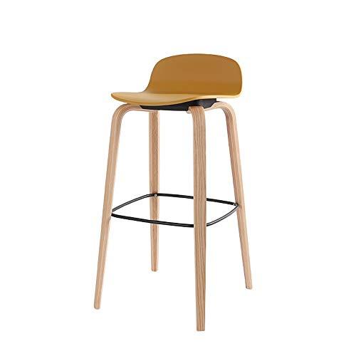 G/j/f Europäische Massivholz-Bar Stuhl, ergonomisch/Bar Tisch und Stühle mit gebogener Rückenlehne/Sitzkissen for das Speisen Geeignet for Küche/Schlafzimmer Laden 300 Pounds (Color : Yellow)