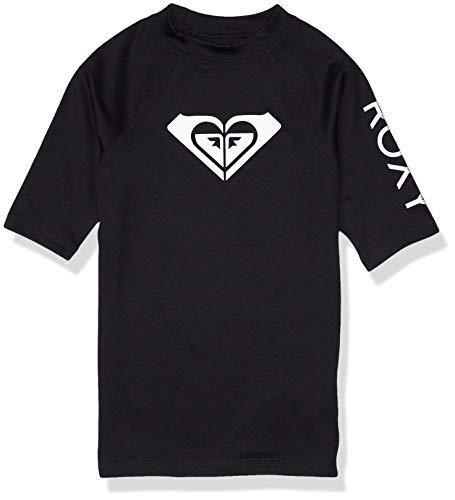 Roxy Girls' Big Whole Hearted Short Sleeve Rashguard, Black Anthracite, 14