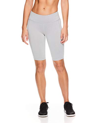 Reebok Women's Compression Running Shorts with Phone Pocket - High Waisted Performance Workout Short - 11 Inch Inseam - Quick Training Grey Heather, Medium