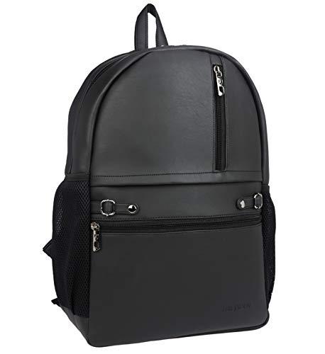 Fur Jaden 20 Ltrs Black Faux Leather Water Resistant Laptop Backpack