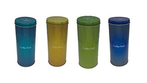 Kaffeepaddose Metall 8cm, Höhe: 17,5cm türkis gold grün blau