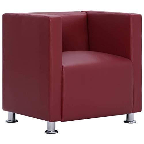 vidaXL Sillón Forma Cubo Cuadrado Piel Sintética Diseño Moderno Elegante Butaca Cuero Artificial Vintage Estilo Le Corbusier Patas Cromadas Rojo Vino