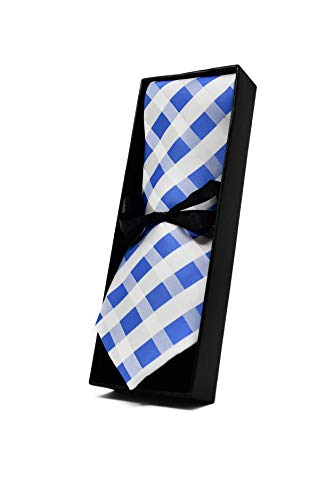 Oxford Collection Cravate Homme à carreaux Bleu Clair et Blanc - 100% en Soie - Classique, Elégante et Moderne - (Idéale pour un cadeau, un mariage, a