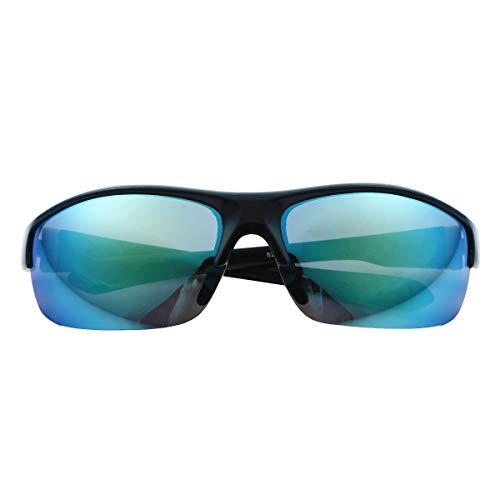 iiniim Gafas de Sol Deportivas para Unisex con Protección UV 400 Cuadradas Súper Liviana Marco para Hombre y Mujer para Correr Golf Beisbol Surf Conducción Esquiando Azul&Verde One Size