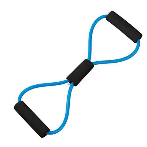 Yoga de la aptitud de goma de resistencia banda elástica 8 palabras se divierte la venda elástica goma de la aptitud de la cuerda entrenamiento de los músculos del pecho de expansión azul del ejercici