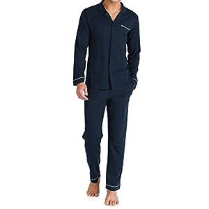 (デヴィッド・アーキー)David Archy ルームウェア パジャマ メンズ 開襟 綿100 シンプルデザイン 部屋着 長袖 セット 前開き 上下 (ダークブルー) L(USサイズ)-日本サイズLL相当 DAJJ07S