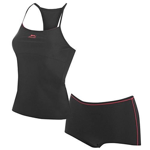 Slazenger Damen Tankini Bikini Set Badeanzug Ringerruecken Top Boxer Short Schwarz 10 (S)