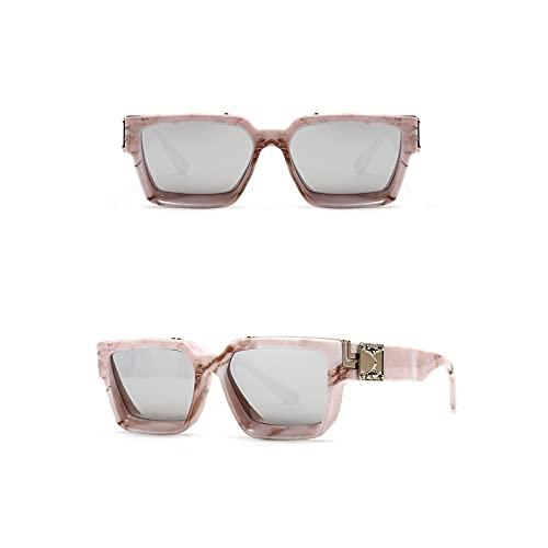 QIXIAO Gafas de Sol de Moda para Mujeres y Hombres de Moda, Gafas de Sol, Lente Cuadrada. (Color : Light Pink, Size : 56mm)