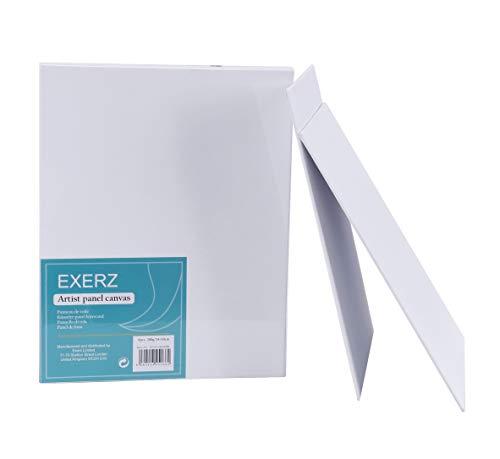 Exerz Paquete de 6 Paneles de Lienzos / 30 x 24 cm 280GSM / Pre-Estirado 100% Algodón/Color Blanco/Triple Preparado/Libre de Acido/Hebra Media / 0,3 cm de Espesor (24x30cm - 6 Piezas)