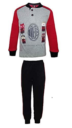 Pigiama Lungo Milan Grigio Rosso Nero Bambino Anni 3 4 5 6 7 8 con Confezione Scatola + Omaggio Portachiavi Fischietto (3 Anni)