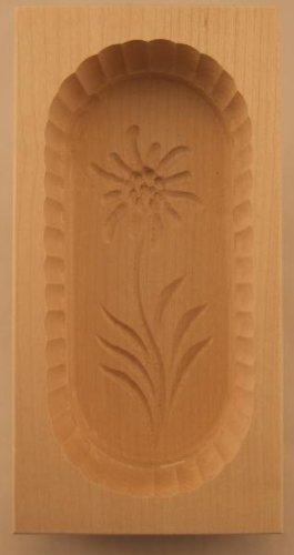 HOFMEISTER® Butterform, für 250 g Butter, 19 cm, Edelweiß, handgefertigt in Deutschland, Butter-Form zum Dekorieren, eckige Sturz-Form, Butter-Model aus heimischem Ahorn-Holz