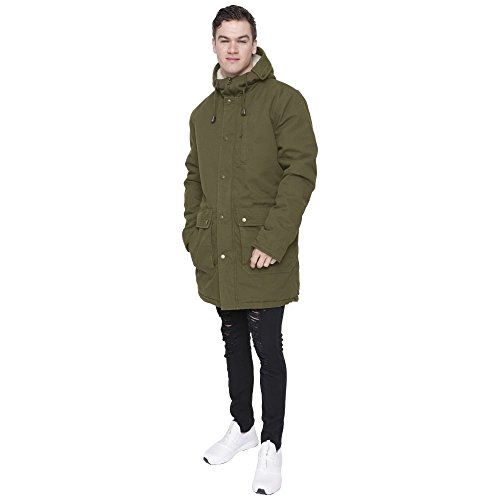 Island Trading Mens Heavy Weight Cotton Parka Winter Coat Fishtail Long Jacket X-Large Khaki