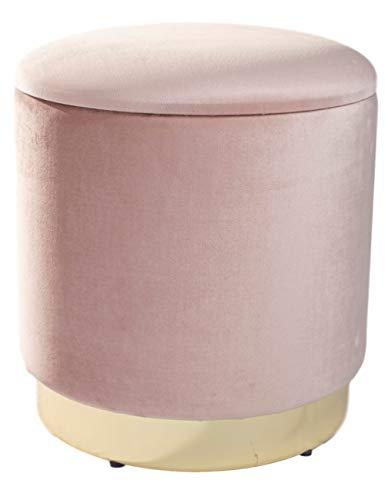 Theo&Cleo Eleganter rosa runder Sitzpuff aus Samt,Mit Stauraum,Aus Samt und Metall,37x37x41.5cm
