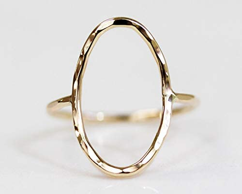 Simple Hand Hammered Oval Ring Open Oval Ring Gold or Rose or Silver Simple Ring Boho Chic Simple product image