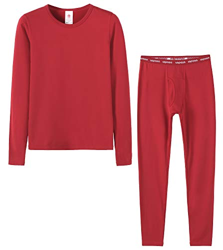 LAPASA Boys Thermal Underwear Long John Set Fleece Lined Base Layer Top and Bottom B03 (S, Red)