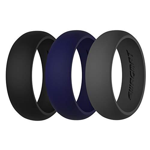 Alianzas de silicona para hombre, 8,7 mm de ancho, 2 mm de grosor, 3 unidades, color negro, gris y blanco, 6, Mine Shaft Black, Emperor Gray, Cloud Burst Blue
