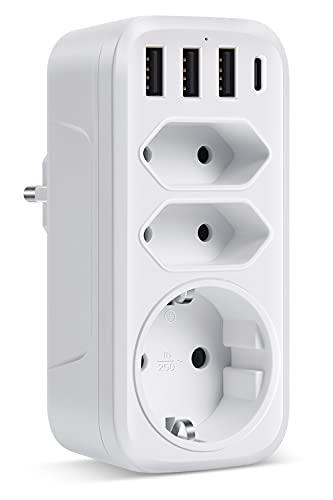 ORSIFOW Steckdosenadapter, Mehrfachsteckdose mit 3 USB Anschluss und 1 Type-C Port, 7-in-1 USB Steckdose mit Kindersicherung für Büro, Zuhause, Reisen