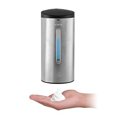 AIKE®AK1255 distributore di sapone in schiuma,distributore automatico di sapone in schiuma,a parete, con sensore a infrarossi,acciaio inossidabile 304,volume della schiuma regolabile,700ml(Spazzolato)