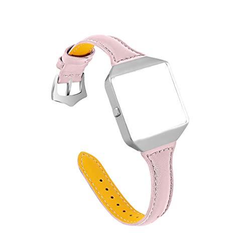 UKCOCO Correa de Reloj con Marco de Reloj Compatible con Fitbit Blaze-Correa de Repuesto de Reloj Inteligente de Cuero Correa de Reloj de Liberación Rápida Correa de Reloj de Pulsera