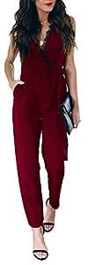 Longwu Mono de Encaje con Cuello en V sin Mangas con Cintura Alta con cinturón y Bolsillos Vino Rojo-L
