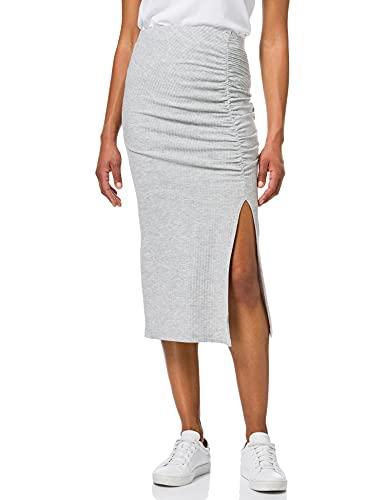 ONLY Damen ONLNELLA Slit Skirt JRS Rock, Light Grey Melange, M