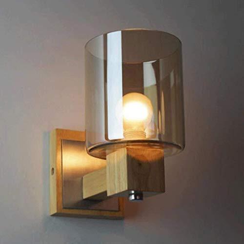 Iluminación creativa Pastoral Espejo nocturno de cristal, ámbar, cristal, madera, lámpara de pared, eficiencia energética días de entrega, madera + hierro, 20 x 18 cm, luz en el patio interior