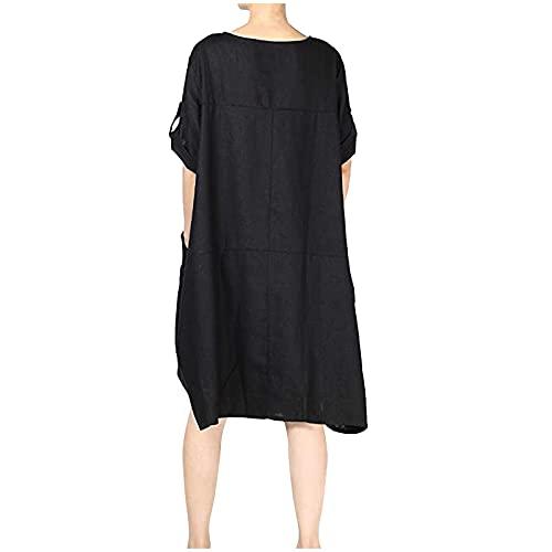 Julhold Vestido túnica de lino para mujer, cuello redondo, manga corta, longitud media, con botones en la parte delantera y mangas