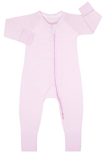 Dim 0A0I Pijama Largo para bebés y niños pequeños, Rayé Rose Layette/Blanc, 18 Meses