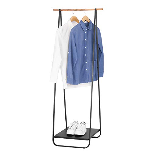 WOLTU Heavy Duty Clothes Rail Metal Coat Rack Stand, Garment Rack Rail Clothes Dry Hanging Storage with Shoe Rack Shelf Metal
